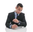 Geschäftsmann isoliert im Anzug ist in Eile und hat Stress