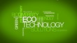 Eco friendly technology green power word tag cloud ecotechnology