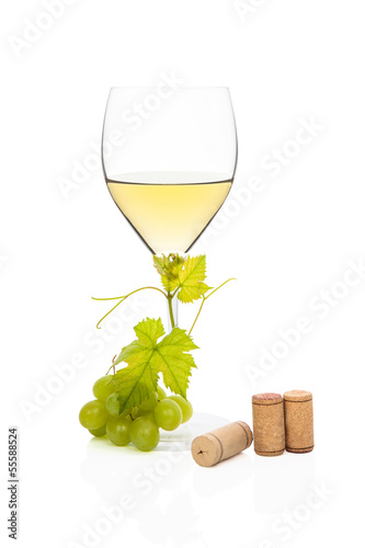 Luxurious white wine still life.