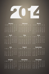 Calendar 2014, Vector illustration.