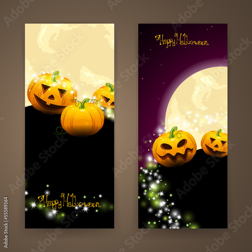 Vector Illustration of Two Halloween Banners