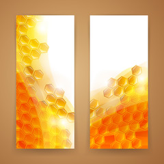 Vector Illustration of Two Abstract Honey Banners