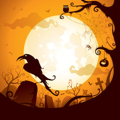 Halloween - Crow on the graveyard