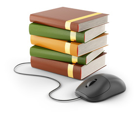 computer mouse and stack of books