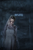 Bride with scars and spooky house poster