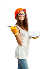 The girl in an orange helmet on a white background.