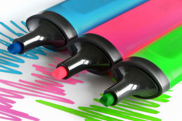 colored markers draw a line