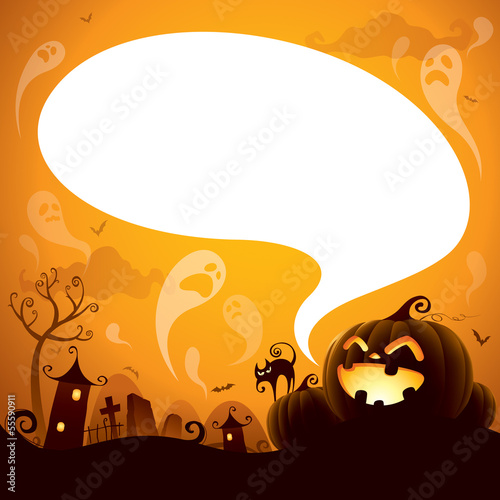 Halloween Jack-o-lantern with speech bubble