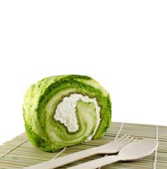 Green tea Cake Roll with fresh cream