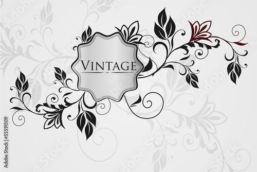 Vintage floral frame. Element for design