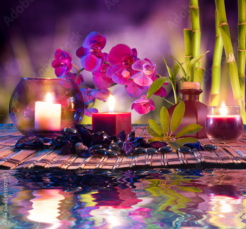 Zdjęcia na płótnie, fototapety, obrazy : violet composition - candles, oil, orchids and bamboo on water