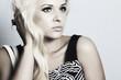monochrome beautiful blond girl in gress. beauty woman