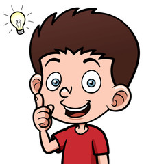 Vector illustration of Boy with a good idea