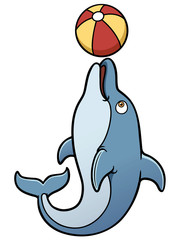Vector illustration of cartoon dolphin
