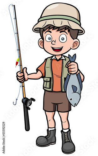 Vector illustration of fisherman holding fish