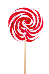 red sweet lollipop isolated on white