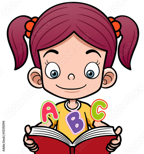 Vector illustration of cartoon girl reading a book