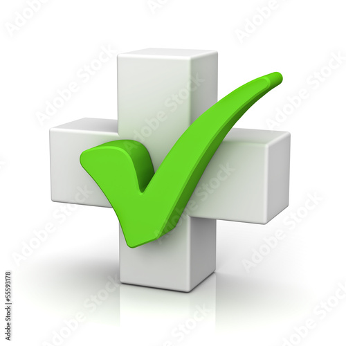 White plus sign with green check mark concept isolated