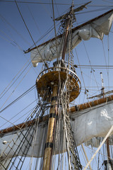 Mast of old and beatiful sailing ship