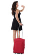 Young Woman Pulling a Red Suitcase Waving