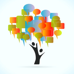 Communication tree vector concept illustration