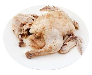boiled chicken on plate
