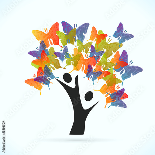 Butterfly tree vector concept illustration