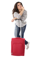 Model Released. Young Woman Alone Waiting With a Red Suitcase