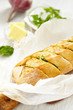 Baked garlic bread with herbs