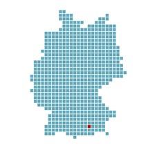 Markierung von München auf vereinfachter Deutschlandkarte