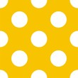 Seamless vector pattern big white polka dots yellow background