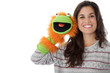 Model Released. Young Woman Holding a Glove Puppet