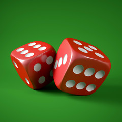two 3d game dices isolated on green background