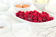 Fresh ingredients for cake with raspberries