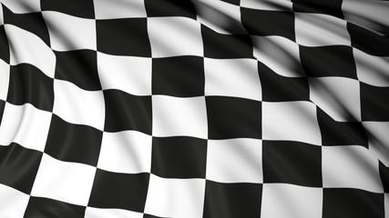Finishing checkered flag waving