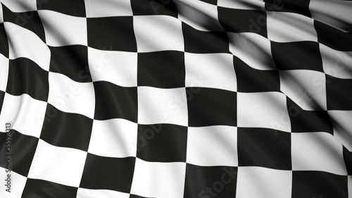Foto op Plexiglas F1 Finishing checkered flag waving