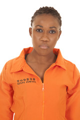 woman prisioner orange close serious