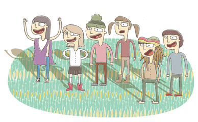 Small vignette illustration of singing teenagers