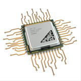 CPU. Gears inside processor on white isolated background.