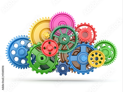 Leinwanddruck Bild Perpetuum mobile. Color gears on white isolated background.