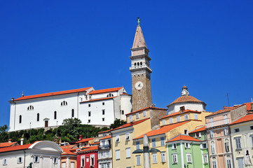 Piran, Pirano, Slovenia - Piazza Tarini e Chiesa di San Giorgio