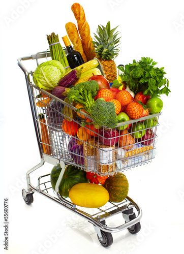 Full grocery cart. - 55600776