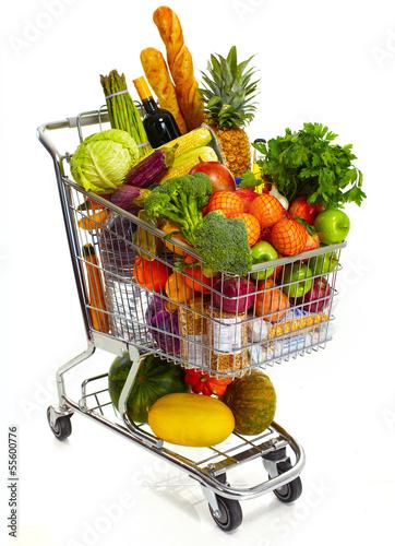 Papiers peints Au marche Full grocery cart.