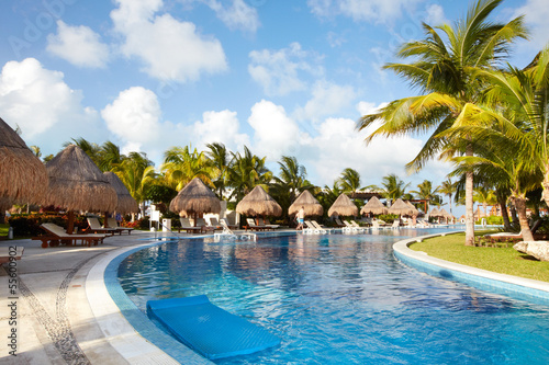 Swimming pool at caribbean resort.