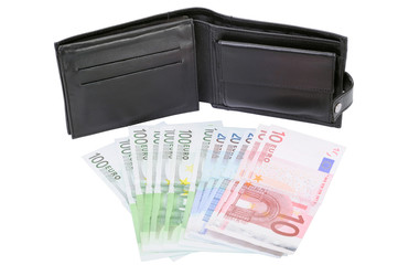 Money and leather wallet