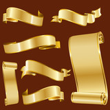 Golden Ribbons Isolated On Red Background