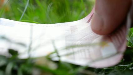 Euro-Geldschein auf einer grünen Wiese