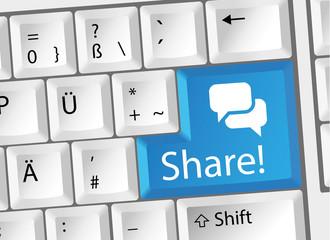 Share / Teilen / Empfehlen Tastatur Deutsch