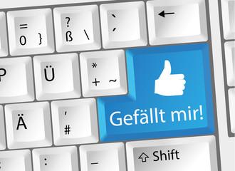 Gefällt mir / i Like / Social Media Tastatur Deutsch