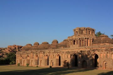 Ancient ruins of Elephant Stables in Hampi, India.